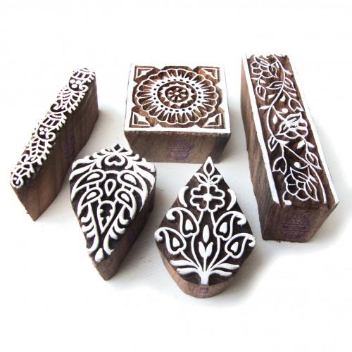 (Set of 5) Designer Leaf and Square Pattern Wooden Printing Blocks