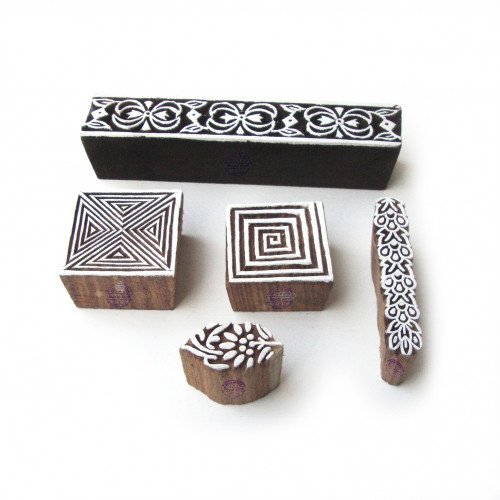 (Set of 5) Decorative Spiral and Border Pattern Wooden Printing Blocks