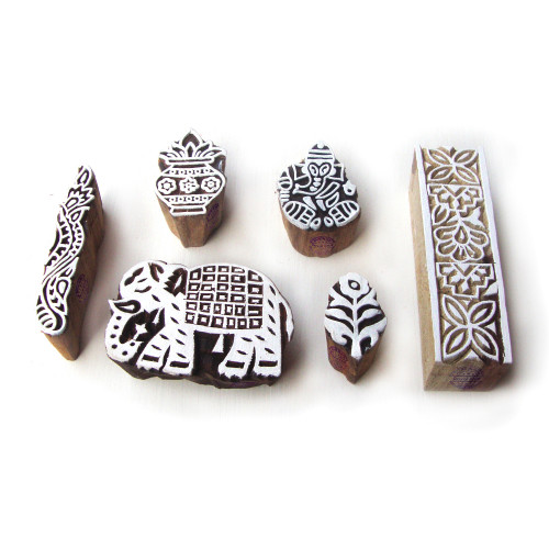 (Set of 6) Elegant Elephant and Religious Pattern Wooden Printing Blocks