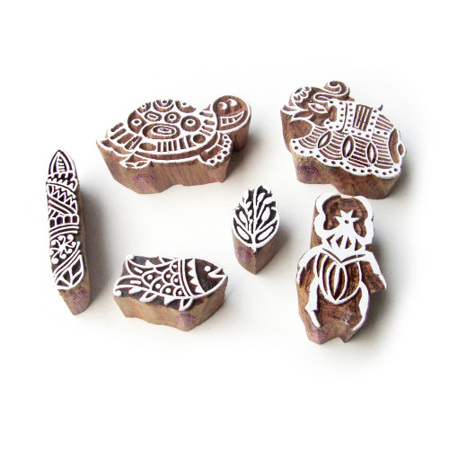 (Set of 6) Tortoise and Scorpio Hand Carved Pattern Wooden Printing Blocks
