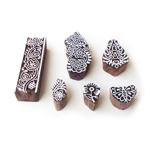 (Set of 6) Border and Floral Contemporary Pattern Wooden Printing Blocks