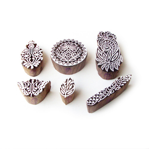 (Set of 6) Butterfly and Floral Asian Pattern Wooden Printing Blocks