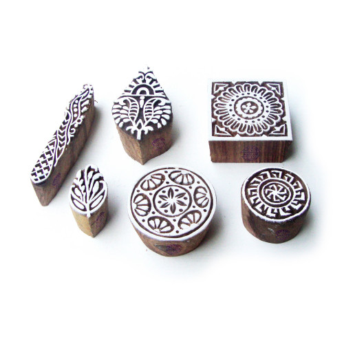 (Set of 6) Round and Square Handmade Pattern Wooden Printing Blocks