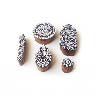 (Set of 5) Round and Floral Asian Pattern Wooden Printing Blocks