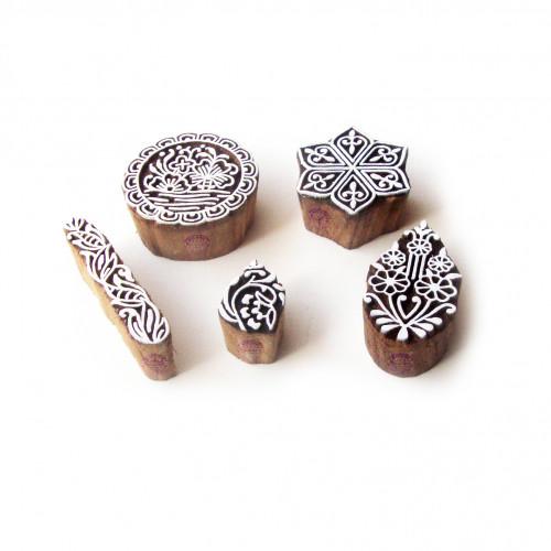 (Set of 5) Hexa and Round Decorative Pattern Wooden Printing Blocks