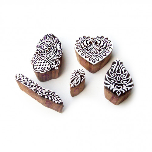 (Set of 5) Heart and Assorted Elegant Pattern Wooden Printing Blocks