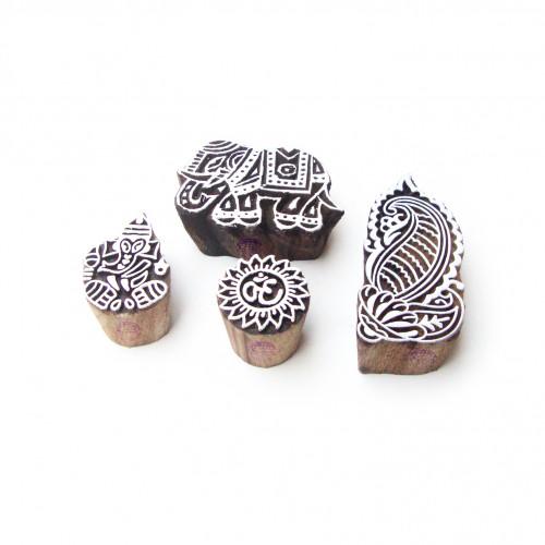 (Set of 4) Elephant and Religious Original Pattern Wooden Printing Blocks