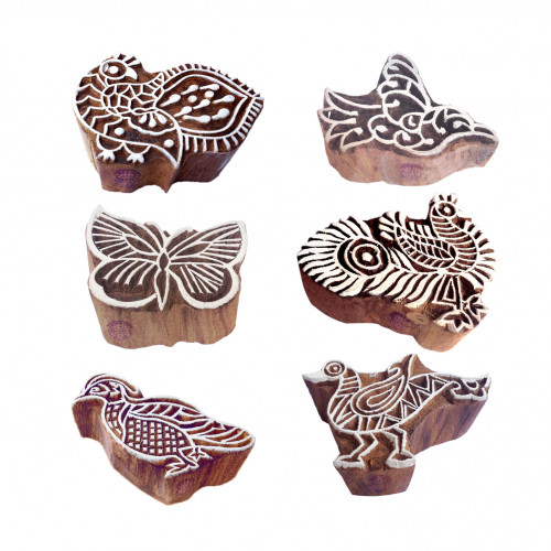 (Set of 6) Artisan Designs Bird and Peacock Wooden Printing Blocks