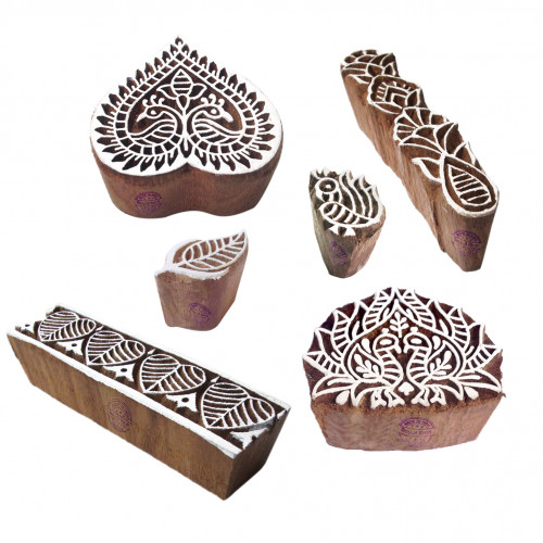 (Set of 6) Urban Motif Heart and Peacock Wooden Printing Stamps