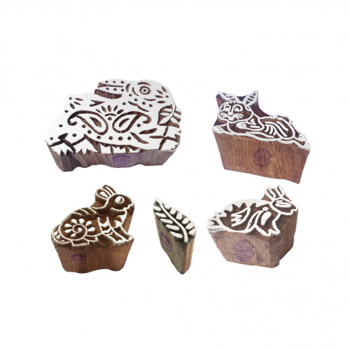 (Set of 5) Oriental Designs Leaf and Rabbit Wooden Printing Blocks