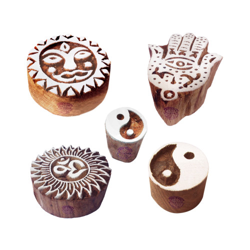 (Set of 5) Creative Pattern Yin Yang and Religious Wood Print Blocks
