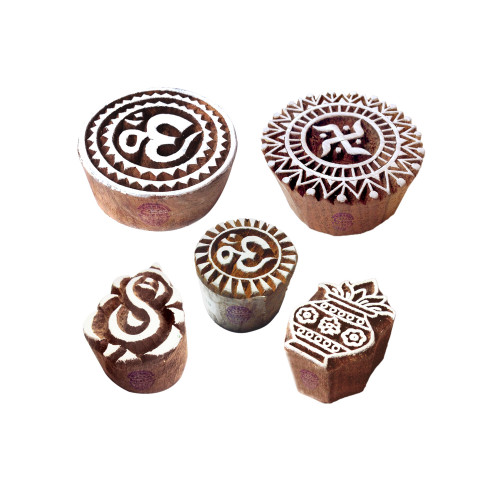 (Set of 5) Beautiful Designs Om and Religious Wooden Block Stamps