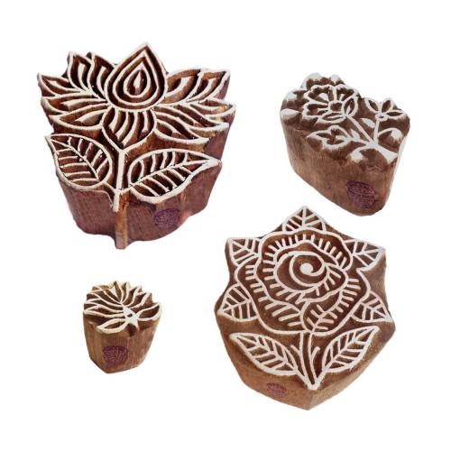 (Set of 4) Handmade Designs Lotus and Rose Wooden Printing Blocks