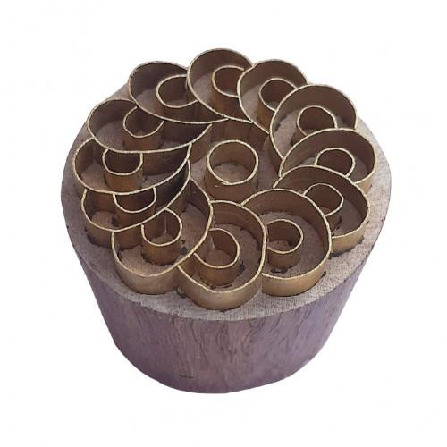 Royal kraft Ethnic Shape Round Brass print Block