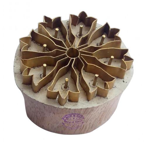 Royal kraft Handcrafted Design Round Brass Wooden Block