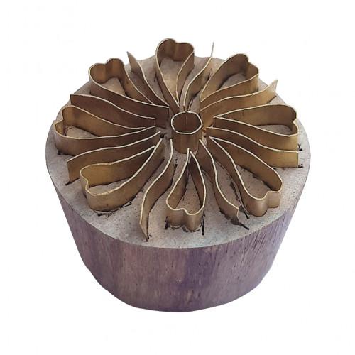 Royal kraft Ethnic Design Round Brass Wooden Stamp