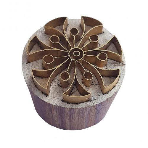 Royal kraft Decorative Pattern Round Brass Wooden Stamp