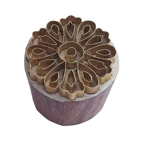Royal kraft Exclusive Design Round Brass Wooden Stamp