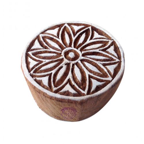Crafty Wooden Blocks Floral Round Designs Printing Stamps