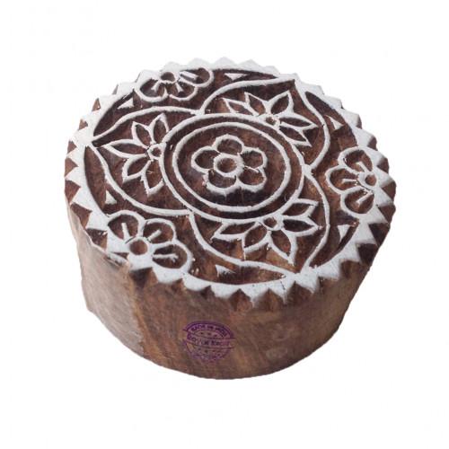 Stylish Print Blocks Floral Round Designs Wooden Stamps