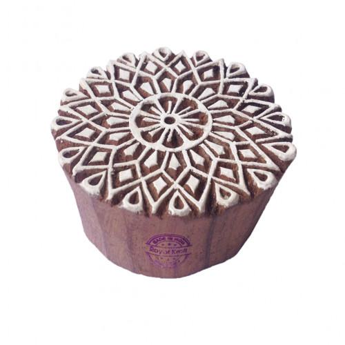 Artisan Print Blocks Flower Round Designs Wooden Stamps