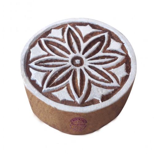 Classy Print Stamps Flower Round Pattern Wooden Blocks