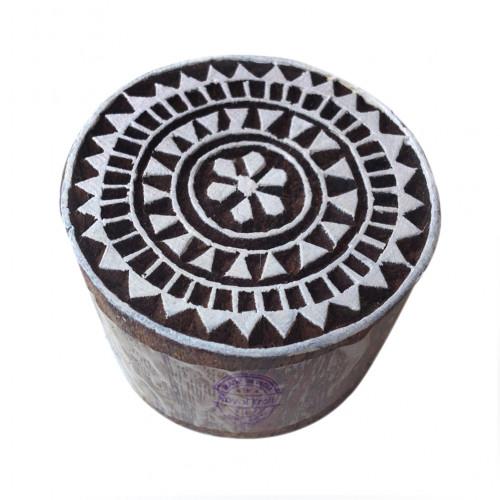 Exclusive Print Stamps Flower Round Pattern Wooden Blocks