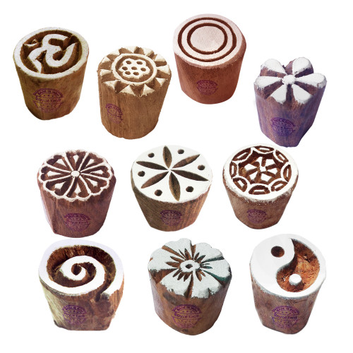 (Set of 10) Textile Wood Blocks Handmade Small Round Shape Printing Stamps