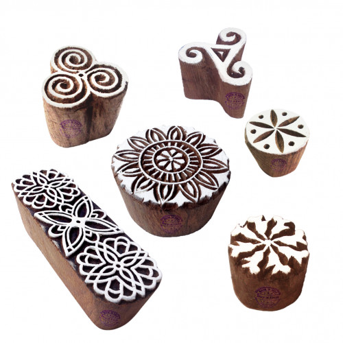 (Set of 6) Classy Pattern Floral and Round Wood Block Stamps