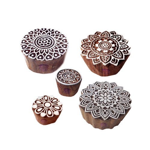 (Set of 5) Traditional Pattern Mandala and Round Wood Block Stamps