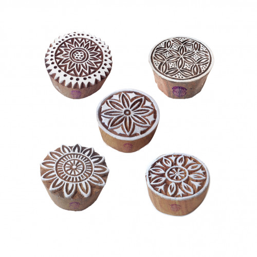 (Set of 5) Designer Pattern Floral and Round Wood Print Blocks