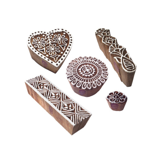 (Set of 5) Abstract Designs Heart and Round Wooden Block Stamps