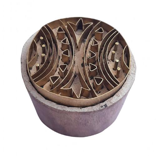 Royal kraft Decorative Design Round Wooden Brass Block