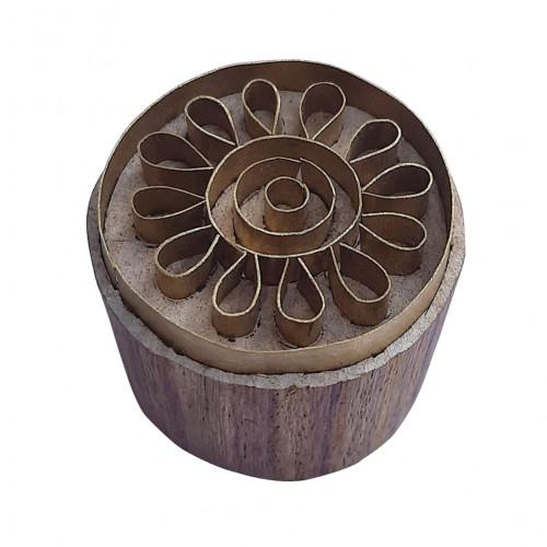 Royal kraft Designer Design Round Wooden Brass Block