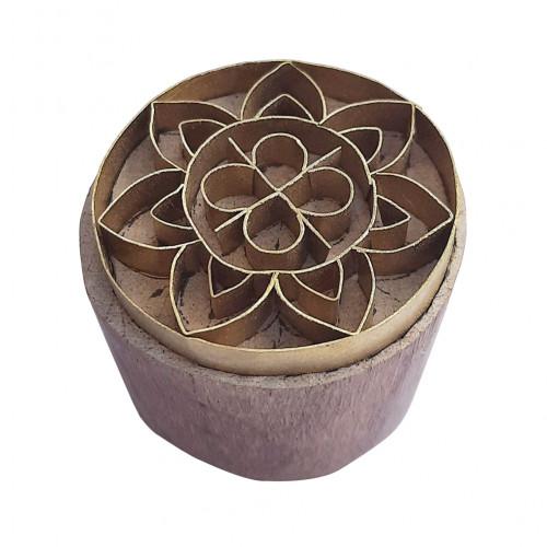 Royal kraft Asian Design Round Wooden Brass Stamp