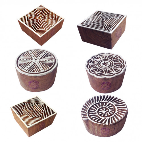 (Set of 6) Stylish Designs Square and Round Wooden Printing Blocks