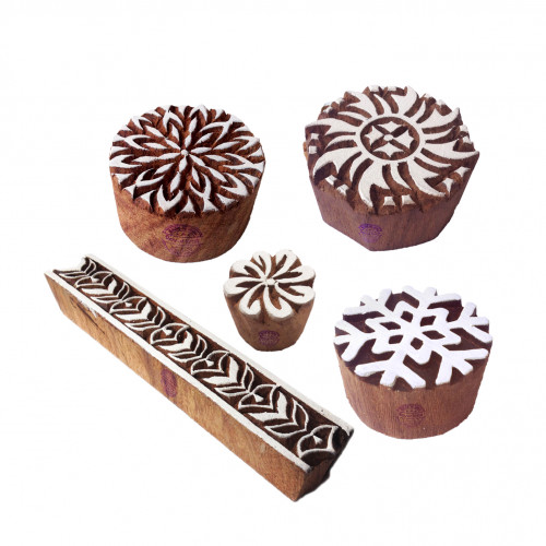 (Set of 5) Crafty Motif Snowflake and Twisted Round Wooden Printing Stamps