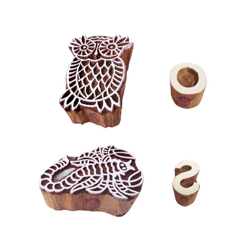 (Set of 4) Educational Print Stamps Decorative Owl Scorpio Pattern Wood Blocks