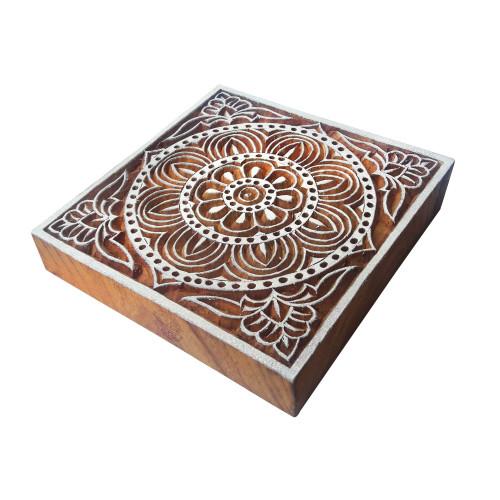 4 Inch Indian Large Wood Block Flower Square Shape Big Printing Stamp
