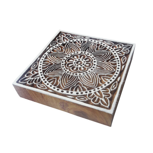 6 Inch Exclusive Large Wood Block Floral Square Shape Big Printing Stamp