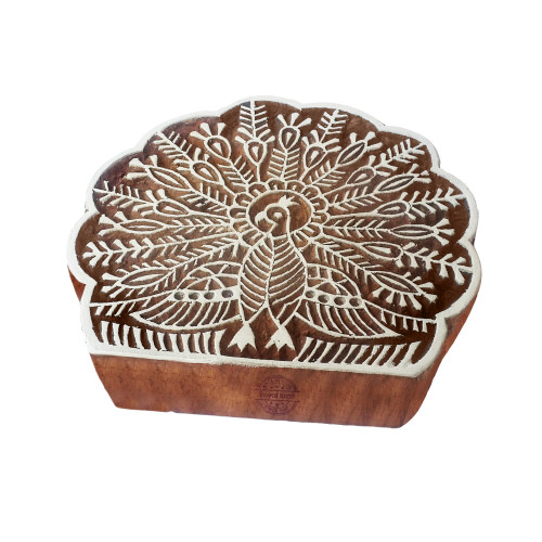 4.5 Inch Exclusive Wood Block Large Peacock Shape Big Printing Stamp