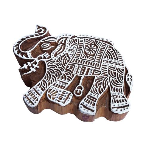 7.5 Inch Urban Wood Block Large Elephant Shape Big Printing Stamp