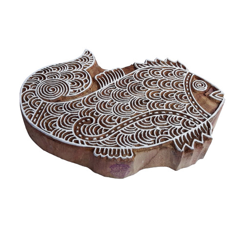 6.5 Inch Henna Wood Block Large Fish Shape Big Printing Stamp