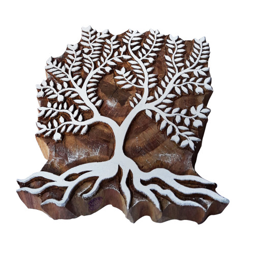 6.5 Inch Hand Carved Printing Block Large Leafy Tree Shape Big Wood Stamp