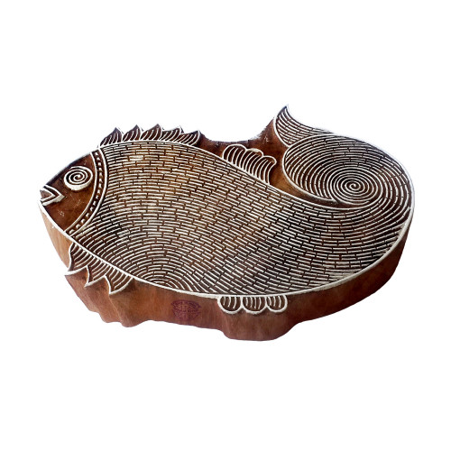 5.5 Inch Original Print Stamp Large Fish Shape Big Wooden Block