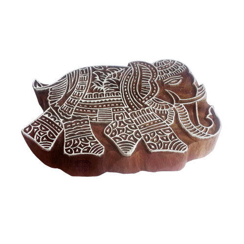 7 Inch Ornate Printing Stamp Large Elephant Shape Big Wooden Block