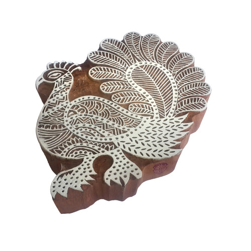 7.2 Inch Pottery Print Stamp Large Peacock Shape Big Wooden Block