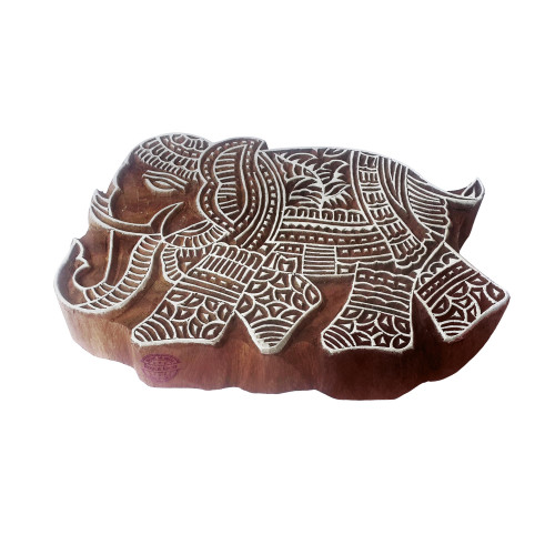 7 Inch Handmade Printing Stamp Large Elephant Shape Big Wooden Block