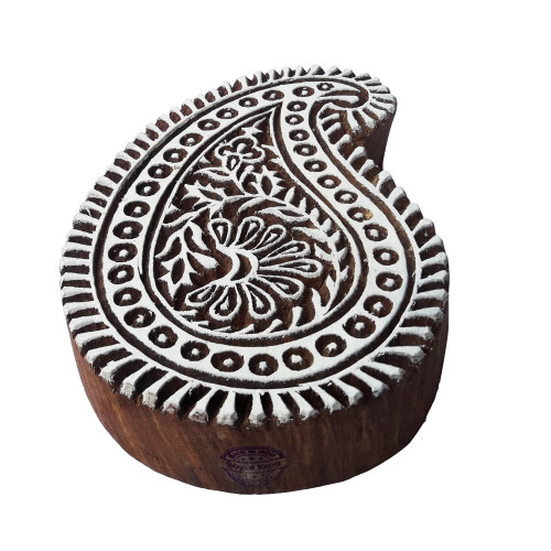 5.5 Inch Asian Print Stamp Large Paisley Shape Big Wooden Block