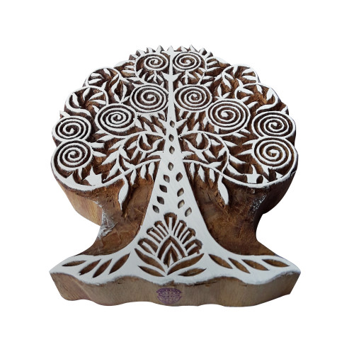 5 Inch Body Tattoo Print Stamp Large Modern Art Tree Shape Big Wooden Block